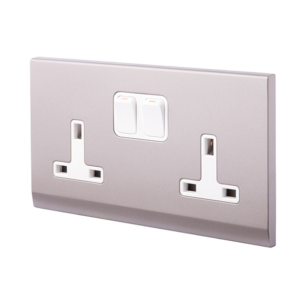 Simplicity 13A DP Double Plug Socket with Switch