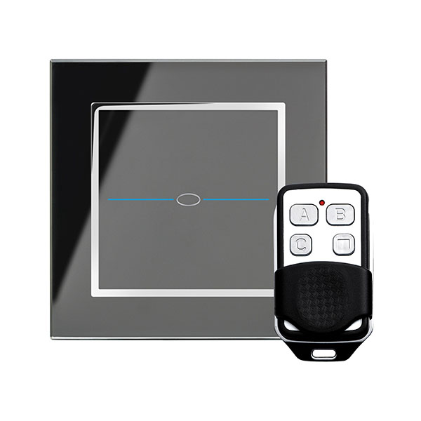 Crystal LED CT 1G Dimmer Touch & Remote Light Switch Black