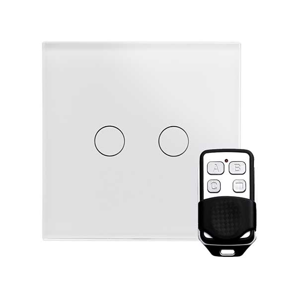 Crystal LED PG 2G Dimmer Touch & Remote Light Switch White