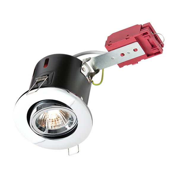 230V IP20 50W Tilt GU10 IC Fire-Rated Downlight in Chrome - VFRSGICC